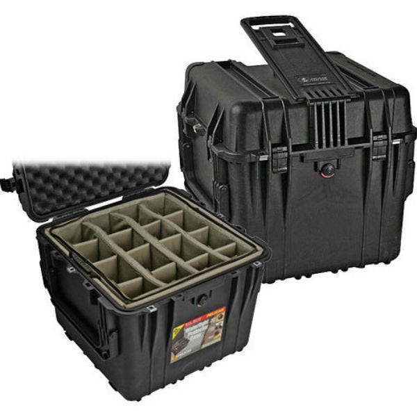 """Pelican 0344 18"""" Cube Case with Mobility Kit with Dividers - Black"""