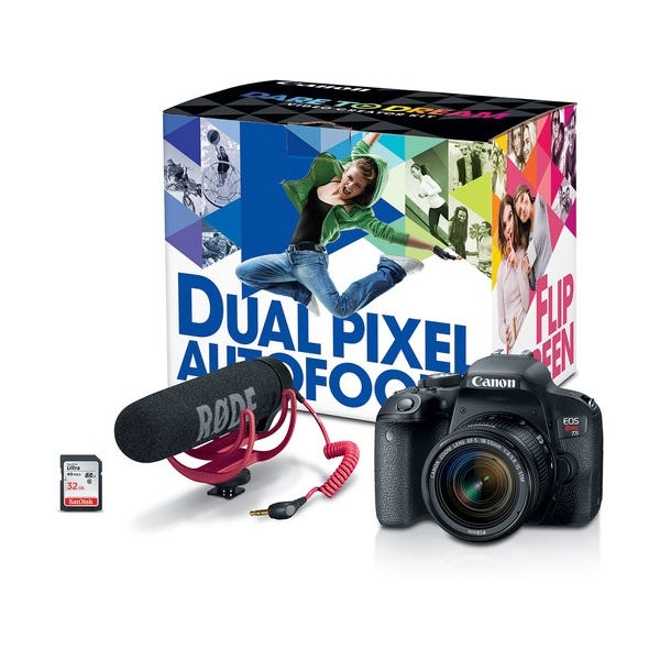 Canon EOS Rebel T7i DSLR Camera with 18-55mm Lens Video Creator Kit