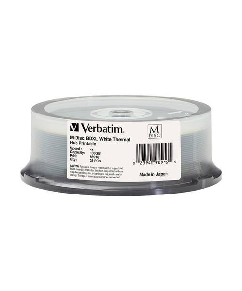 Verbatim 4X White Thermal M_Disc S 100GB Blu-ray BDXL Cake Box - 25pc