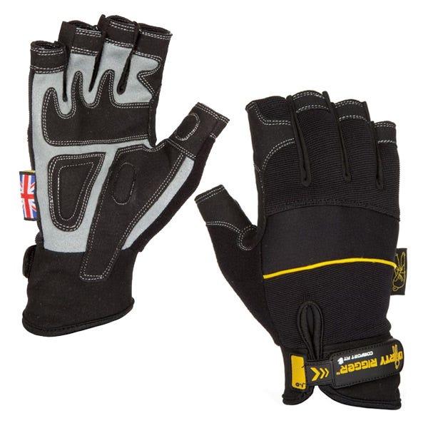 Dirty Rigger Black Comfort Fingerless Gloves - Small