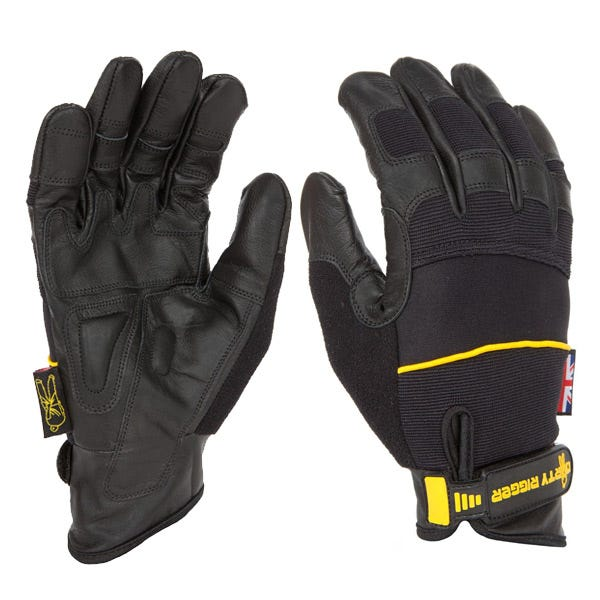 Dirty Rigger Black Leather Grip Gloves - XX-Large