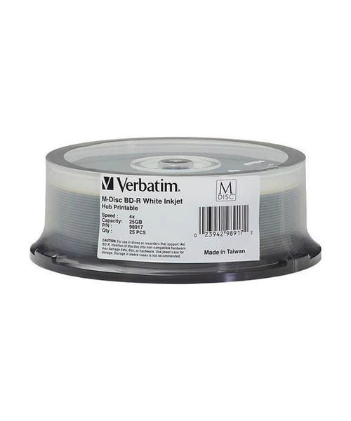 Verbatim 4X White Inkjet Hub Printable 25GB 4X Blu-Ray Cake Box - 25pc
