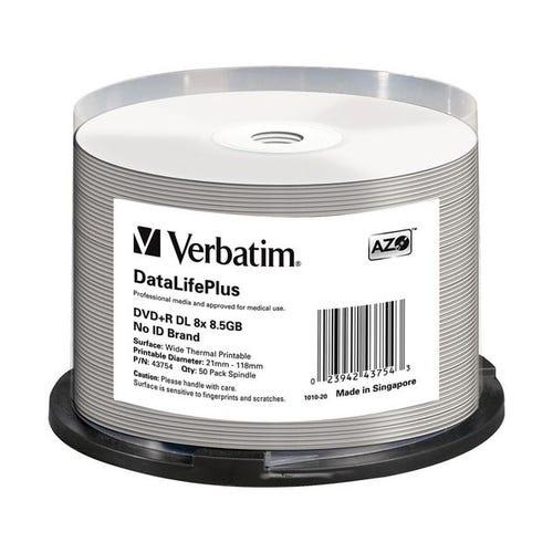 Verbatim 8X DataLifePlus Double-Layer White Thermal Hub Printable 4.7GB DVD+R - 50pc