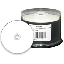 Microboards 8X White Inkjet Hub Printable 8.5GB DVD+R  Dual Layer Cake Box - 50pc