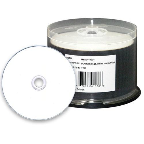 Microboards 8X White Inkjet Hub Printable 8.5GB DVD+R  Dual Layer Cake Box - 50pc