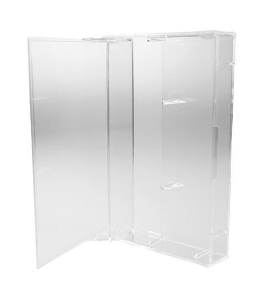 Polyline Audio Cassette Box - Clear - Hard Plastic - Square Corners & Flat Posts