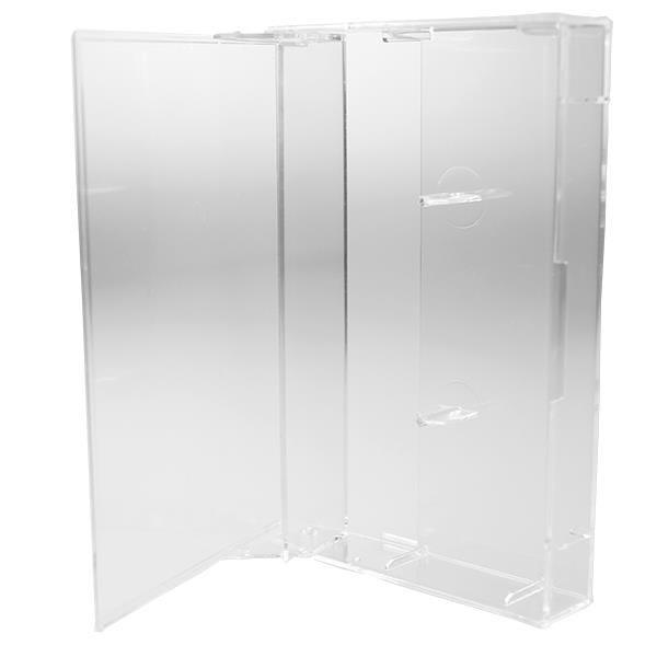 Polyline Audio Cassette Box - Clear - Hard Plastic - Square Corners & Flat Posts