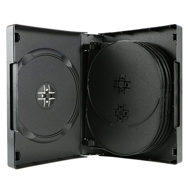 Polyline 12-Disc DVD Case - Black - 39mm - Textured - Overlay and Push Button Hubs
