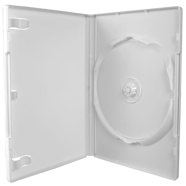 Polyline DVD Case - White - 14mm - Textured - 100% Virgin - Automatable - Overlay & Literature Clips