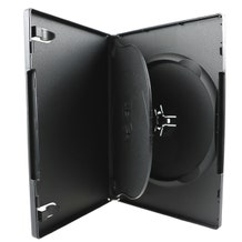 Polyline 3 Disc Triple DVD Case-Black-14mm-Textured-Automatable Overlay & Literature Clips
