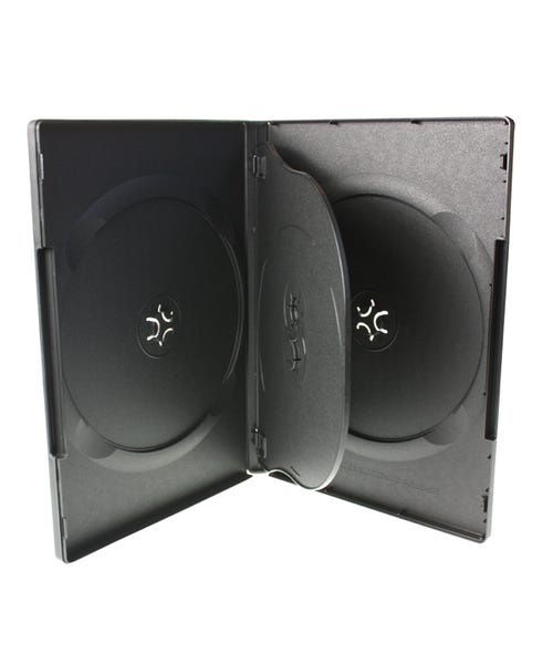 Polyline 4 Disc Quad DVD Case - Black - 14mm - Textured - Automatable Overlay