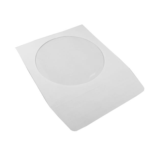 Polyline CD/DVD Sleeve - White - Paper - 1.5in Peel & Seal Adhesive Flap - Window