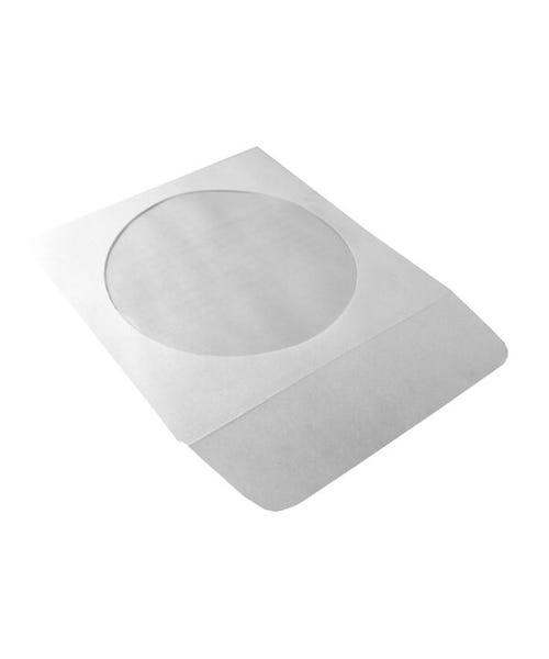 Polyline CD/DVD Sleeve - White - Paper - 1.5in Flap - Peel & Seal Adhesive Strip - Window - 1000 per Case