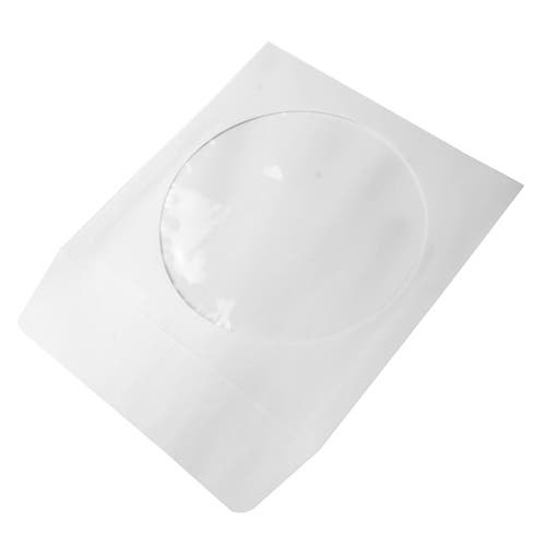 Polyline CD/DVD Sleeve - White - Paper - 1.5in Flap - 1 mil Polypropylene Window
