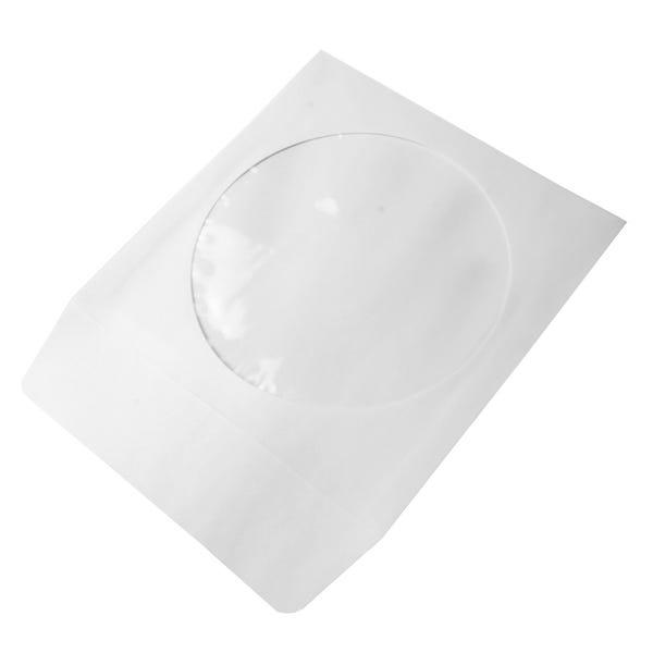 Polyline CD/DVD Sleeve - White - Paper - 1.5in Flap - 1 mil Polypropylene Window
