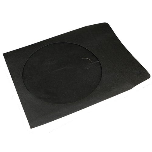 Polyline CD/DVD Sleeve - Black - Paper - 1in Flap & holder - 2 mil Polypropylene Window