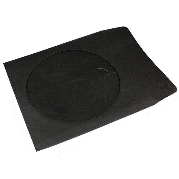 Polyline CD/DVD Sleeve - Black - Paper - 1in Flap & holder - 2 mil Polypropylene Window