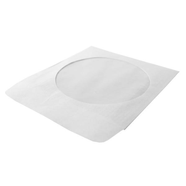 Polyline CD/DVD Sleeve - White - Paper - 1in Flap - 2 mil Polypropylene Window