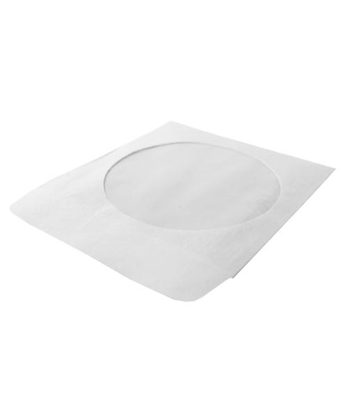 Polyline CD/DVD Sleeve - White - Paper - 1in Flap - 2 mil Polypropylene Window