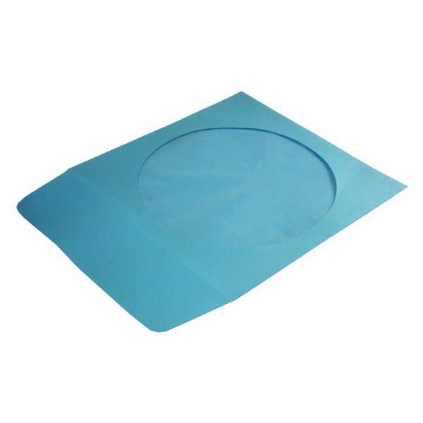 Polyline CD/DVD Sleeve - Blue - Paper - 1.5in Flap - 2 mil Polypropylene Window