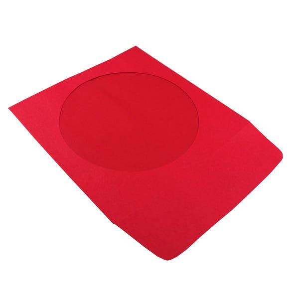 Polyline CD/DVD Sleeve - Red - Paper - 1.5in Flap - 2 mil Polypropylene Window