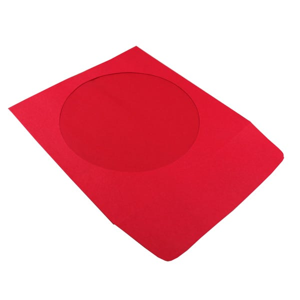 Polyline CD/DVD Sleeve - Red - Paper - 1.5in Flap - 2 mil Polypropylene Window