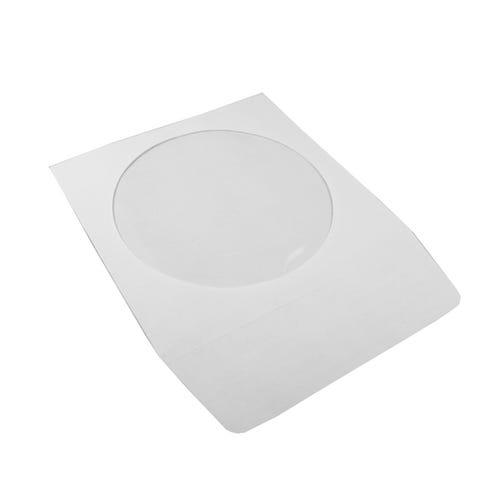 Polyline CD/DVD Sleeve - White - Paper - 1.5in Flap - 2 mil Polypropylene Window