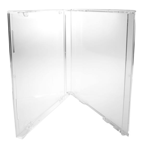 Polyline CD Jewel Box - Double Boxed - No Tray - Clear - Polystyrene - Automatable -  Literature Clips