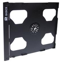 Polyline 2-Disc Jewel Case Tray - Black - Polystyrene - Logo Imprinted