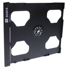 Polyline 2-Disc Jewel Case Tray - Black - Polystyrene - Logo Imprinted