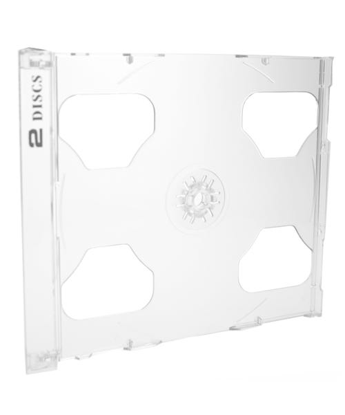Polyline 2-Disc Jewel Case Tray - Clear - Polystyrene - Logo Imprinted