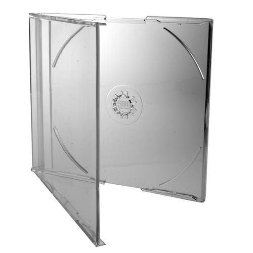 Polyline Slimline 7mm Jewel Case - Clear Clear Tray - Polystyrene - CD Logo on Hub