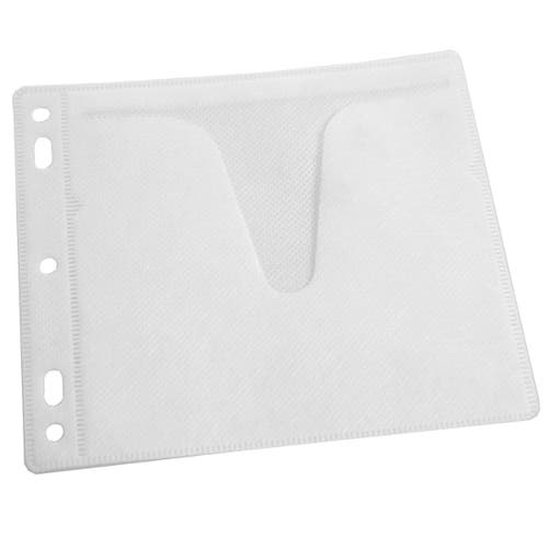 Polyline 2-Pocket CD Binder Sleeve - 2- or 3-Ring Binder - White Fabric - No Flap