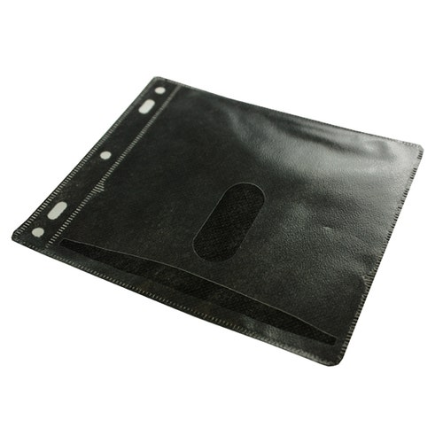 Polyline 2-Pocket CD Binder Sleeve - 2- or 3-Ring Binder - Polypropylene - Black Fabric - No Flap - 100 Pack