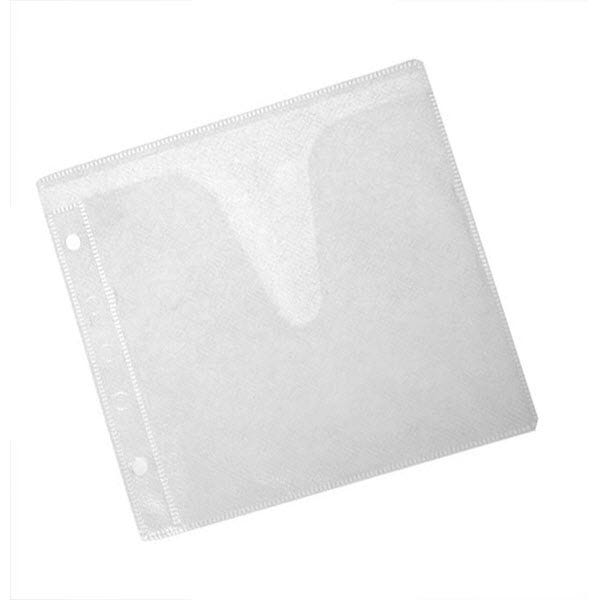 Polyline 2-Pocket CD Binder Sleeve - 2- or 3-Ring Binder - Polypropylene -White Fabric - No Flap - 100 Pack