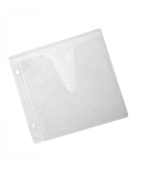 Polyline 2-Pocket CD Binder Sleeve - 2- or 3-Ring Binder - Polypropylene -White Fabric - No Flap - 100 Pack