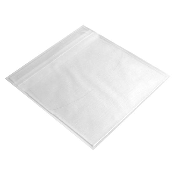 Polyline Adhesive CD Sleeve - Clear White Fabric Liner - Vinyl - Flap & Tamper-Evident Seal