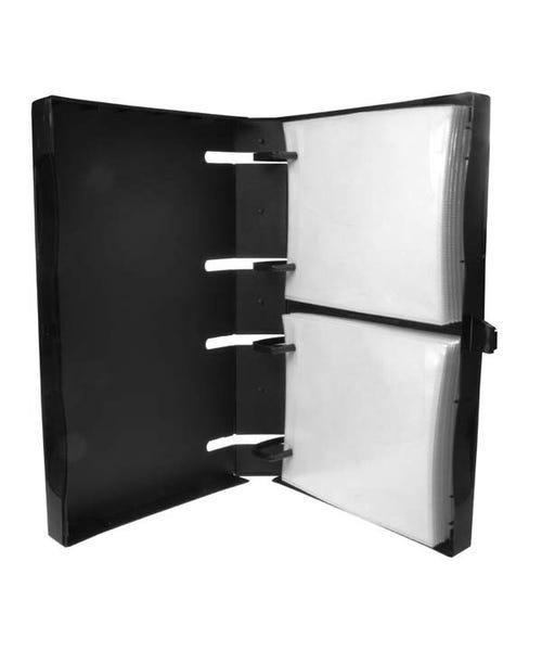 Polyline Unikeep 2-Ring Disc Binder - 30-Disc - Black - Matte - Polypropylene - Overlay & Safety-Sleeves