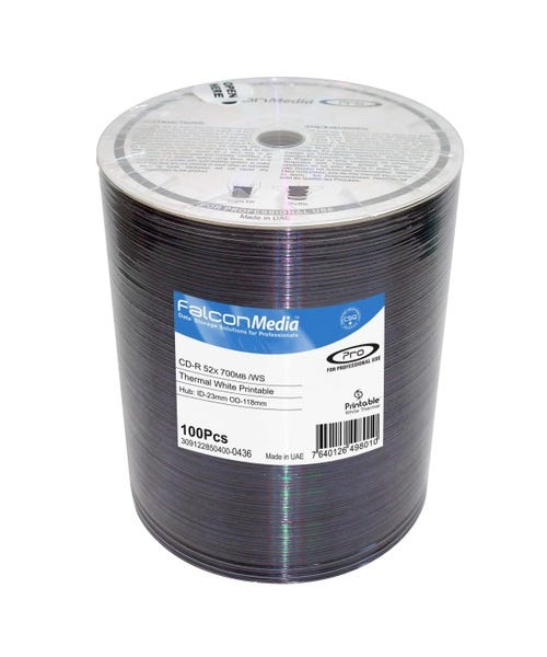 Falcon 52X White Thermal Hub Printable Everest Compatible CDR Shrinkwrap - 100pc
