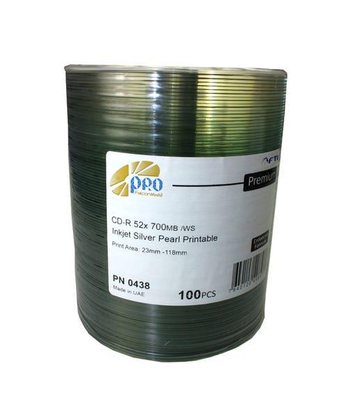 Falcon 52X Silver Pearl Inkjet Hub Printable 80 Min CDR Shrinkwrap - 100pc