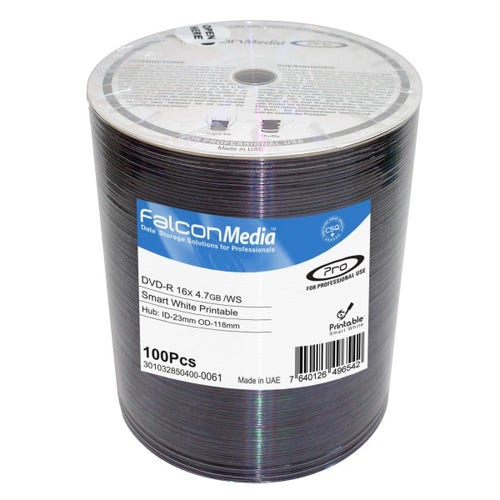 Falcon 16X Smart White Inkjet Hub Printable 4.7GB DVD-R Shrinkwrap - 100pc