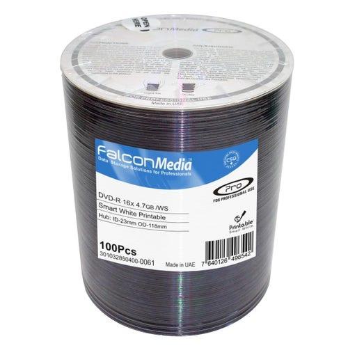 Falcon 16X Smart White Inkjet Hub Printable 4.7GB DVD-R Shrinkwrap - 100pc