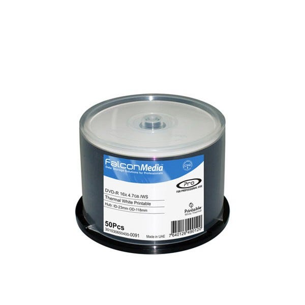 Falcon 16X White Thermal Hub Printable Everest Compatible 4.7GB DVD-R Cake Box - 50pc
