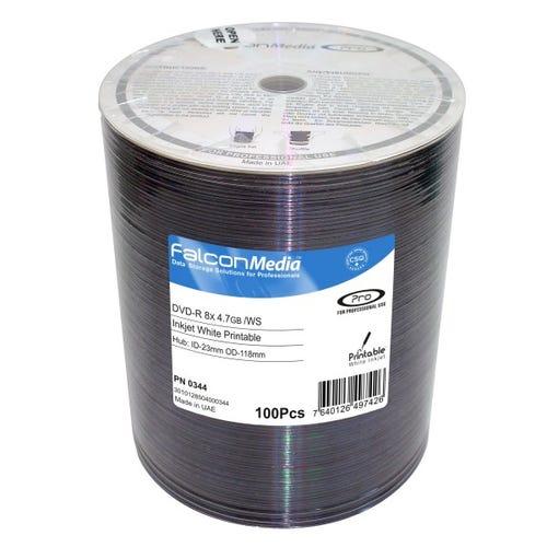 Falcon 8X White Inkjet Hub Printable 4.7GB DVD-R Shrinkwrap - 100pc