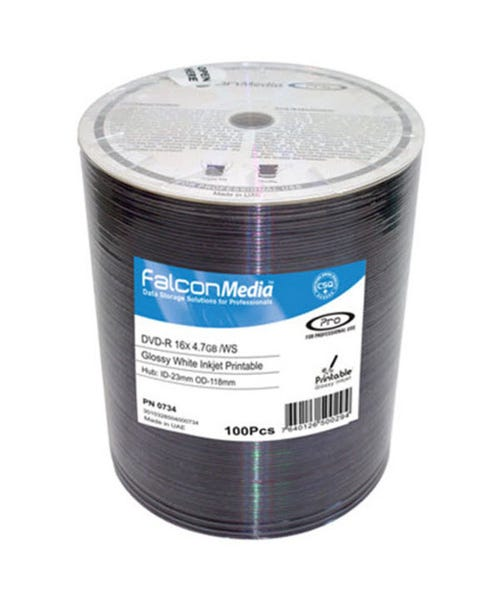 Falcon 16X Super Glossy White Thermal Hub Printable 4.7GB DVD-R Shrinkwrap - 600pc
