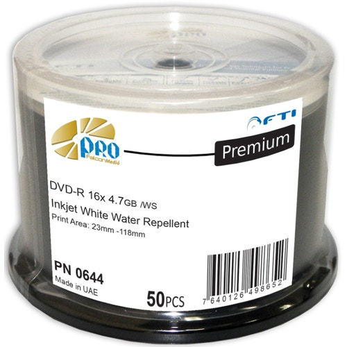Falcon 16X White Inkjet Water Repellant Hub Printable 4.7GB DVD-R Cake Box - 300pc