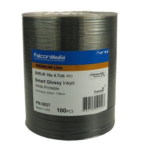 Falcon 16X Glossy White Inkjet Hub Printable 4.7GB DVD-R Shrinkwrap - 100pc