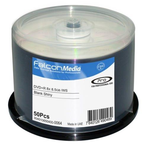 Falcon 8X Shiny Silver Hub Printable 8.5GB DVD+R DL Cake Box - 50pc