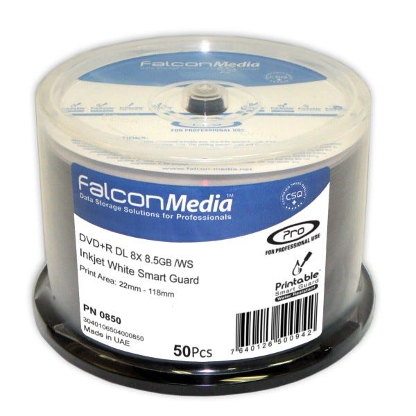 Falcon 8X White Inkjet Hub Printable Smart Guard 8.5GB DVD+R DL Cake Box - 50pc