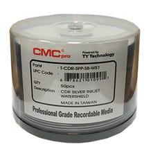 CMC Pro Taiyo Yuden 52X WaterShield Silver Inkjet Hub Printable 700MB CD-R Cake Box - 50pc